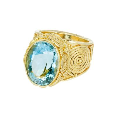 Luna Felix 9 41 Carat Oval Aquamarine Granulated Yellow Gold Cocktail Ring