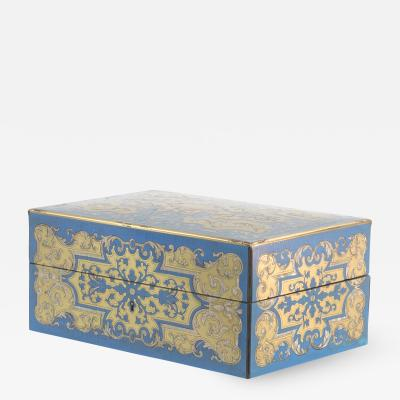 Luxurious Boulle Work Dressing Box Of Brass Blue Enamel Circa 1850
