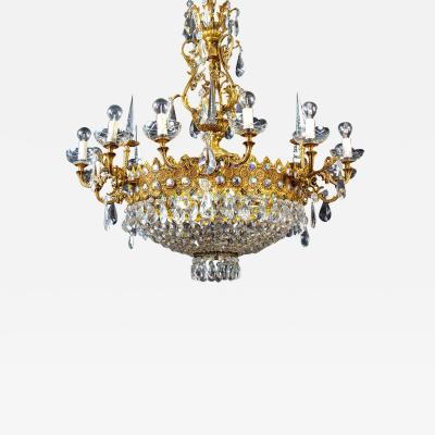 Luxurious Crystal and Brass Chandelier Italy 1930