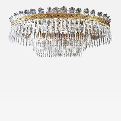 Luxurious Oval Shaped Crystal and Brass Chandelier Italy 1940