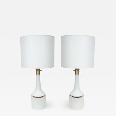 Lyktan Haus White Glass Lamps with Gold Pinstripes
