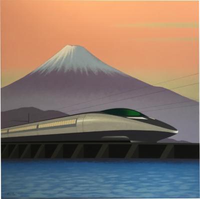Lynn Curlee JAPANESE BULLET TRAIN Original painting by Lynn Curlee