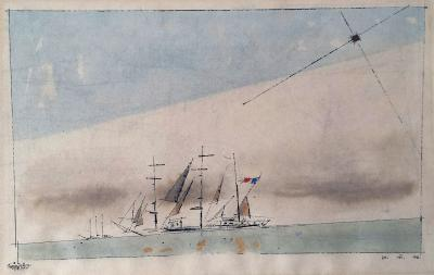 Lyonel Charles Adrian Feininger Untitled French Barque under Staysail