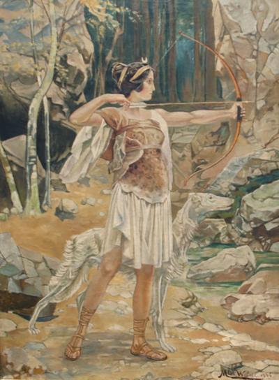 M De Wilde Diana oil on canvas by M De Wilde