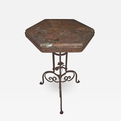 MARBLE TOP IRON TABLE