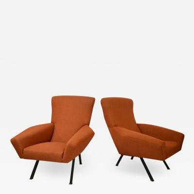 MARIO TERZAGHI Pair of Magnaghi and Terzaghi Armchairs model Maxia for FBG Meda from 60s