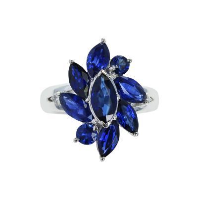 MARQUISE FLOWER SHAPE 3 88 CARAT BLUE SAPPHIRE AND 0 06 DIAMOND RING PLATINUM