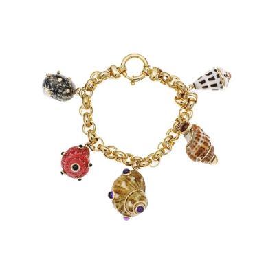 MAZ Amethyst Citrine Pearl Coral Onyx Sea Shell Gold Charm Bracelet