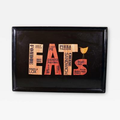 MCM Barware Couroc Resin Tray titled Eats