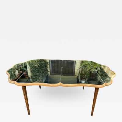 MCM Hollywood Regency Style Mirror Top Dining Table