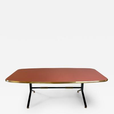 MCM Italian Coral Red Glass w Black Iron Legs Brass Details Coffee Table