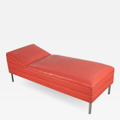 MCM chaise or day bed in coral vinyl faux leather with aluminum legs