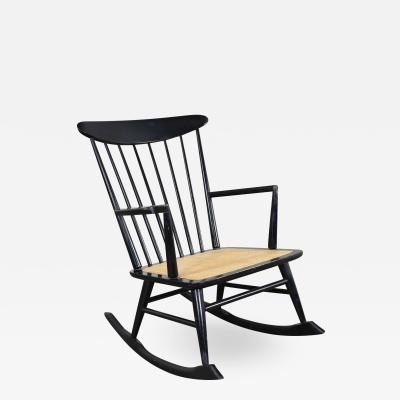 MCM scandinavian style spindle back rocking chair black with cane seat
