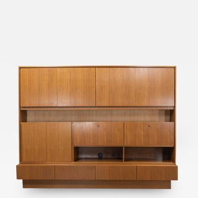 MCM teak veneer german shrunk wall unit secretary liquor cabinet 2 piece