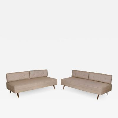 MCM white vinyl faux silk look daybeds or convertible sofas or sectional