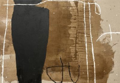 MEIGHAN MORRISON Untitled 2021 Large Brown Black White Abstract Painting by Meighan Morrison