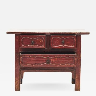 MID 19TH CENTURY CHINESE RED LACQUER SIDEBOARD WITH 3 DRAWERS