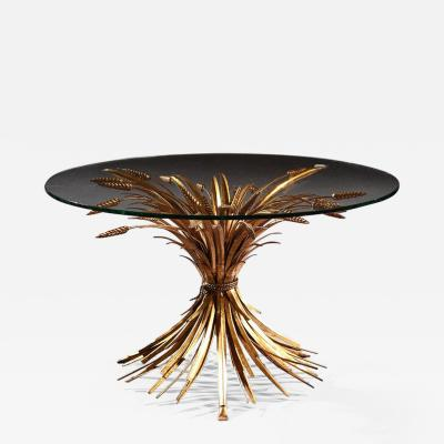 MID 20TH CENTURY GILT METAL WHEAT SHEAF TABLE WITH GLASS TOP