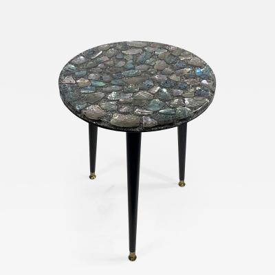 MID CENTURY ABALONE RESIN TOP TRIPOD TABLE