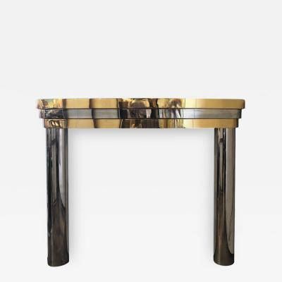 MID CENTURY BRASS AND CHROME FIREPLACE MANTEL
