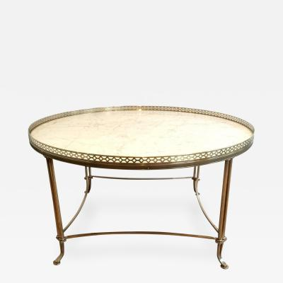MID CENTURY BRASS COCKTAIL TABLE WITH WHITE MARBLE TOP