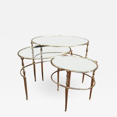 MID CENTURY BRASS OVAL NESTING TABLES
