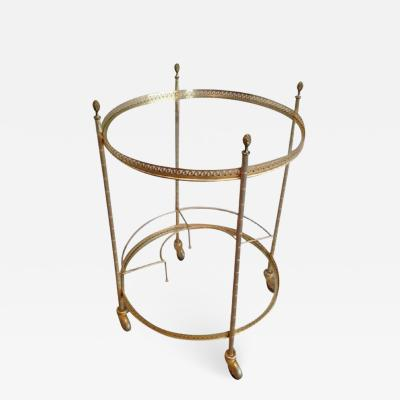 MID CENTURY BRASS ROUND ROLLING SERVING TABLE WITH ACORN FINIALS BOTTLE RACK