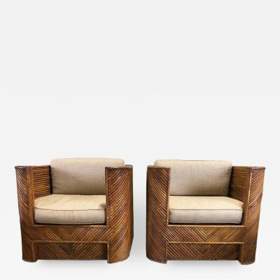 MID CENTURY ITALIAN BAMBOO CLUB CHAIRS A PAIR