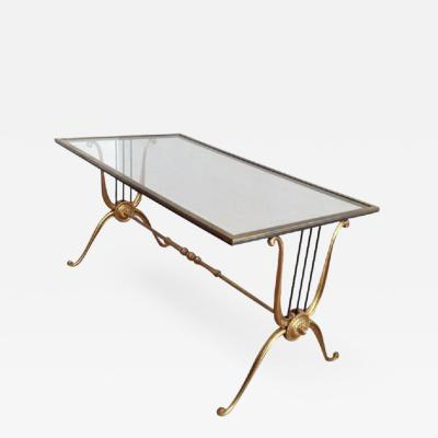 MID CENTURY LYRE DESIGN BRASS COFFEE TABLE WITH CLEAR GLASS TOP PAIR