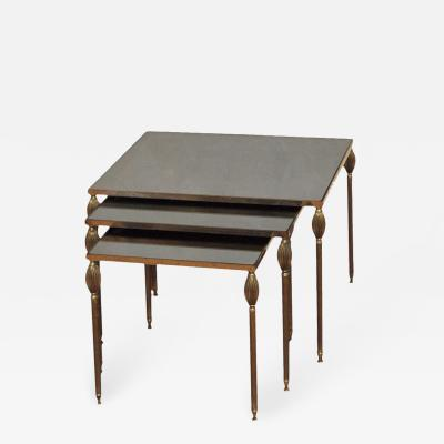 MID CENTURY SET OF 3 NESTING TABLES WITH SMOKED GLASS