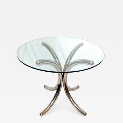 MIDCENTURY CHROME AND GLASS TABLE
