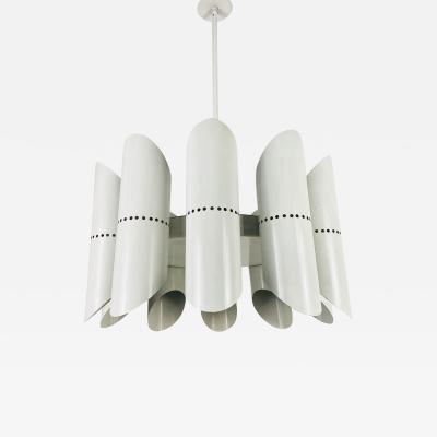 MIDCENTURY WHITE 10 ARM SPACE AGE CHANDELIER 1960S