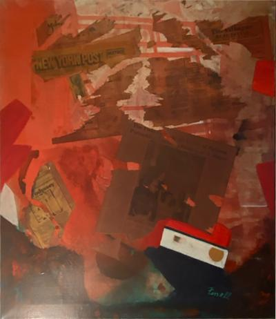 MIXED MEDIA PAINTING WITH NYC PAPERS SIGNED FINELL