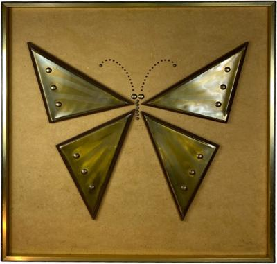 MIXED METALS BRUTALIST BUTTERFLY WALL ART