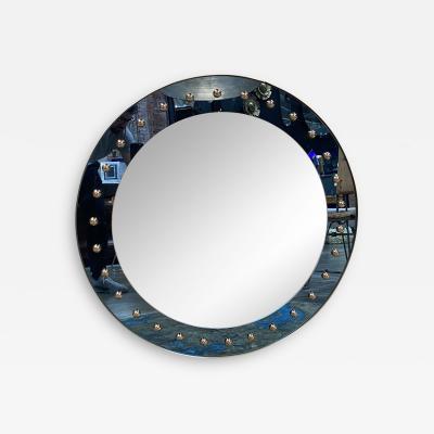 MId Century Oversize Round Mirror Italy 1970