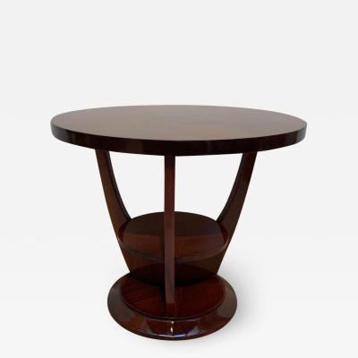 ML Guyot Round Art Deco Side Table Palisander Signed French Polish France circa 1925