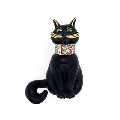 MOBA Seymour Moss Moba Black Cat Lucky 13 Brooch