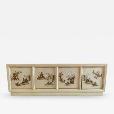 MODERN BRASS AND HANDPAINTED ASIAN SCENE SIDEBOARD