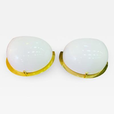 MODERN PAIR OF WHITE GLASS AND BRASS SCONCES