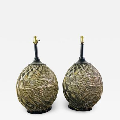 MODERN PAIR OF WOVEN CHROME SPHERE LAMPS