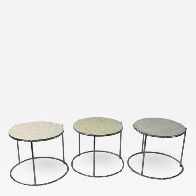 MODERN TRIO OF CAPIZ SHELL CHROME NESTING TABLES