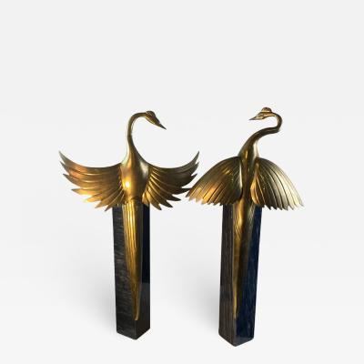 MODERNIST BRASS EXOTIC BIRDS ON MARBLE PEDESTAL SCULPTURES