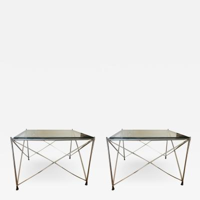 MODERNIST PAIR OF MOLECULAR FORM CHROME AND GLASS TABLES