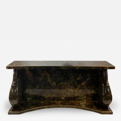 MODERNIST TESSELATTED HORN AND BRASS SWAN CONSOLE