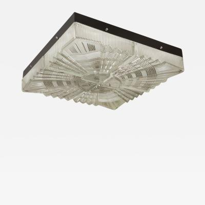 MOLDED GLASS SUNBURST FLUSH MOUNT FIXTURE