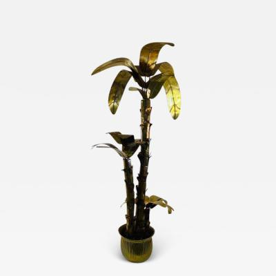 MONUMENTAL ITALIAN BRASS PALM TREE IN POT SCULPTURE