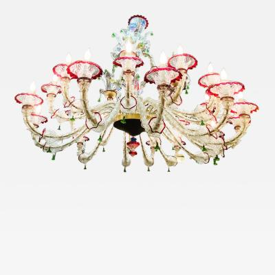 MONUMENTAL MULTI COLORED MURANO GLASS CHANDELIER
