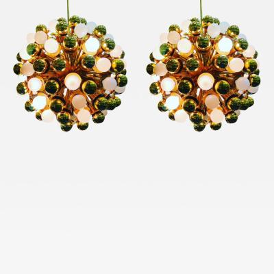 MONUMENTAL SPECTACULAR PAIR OF MODERN BRASS SPUTNIK CHANDELIERS