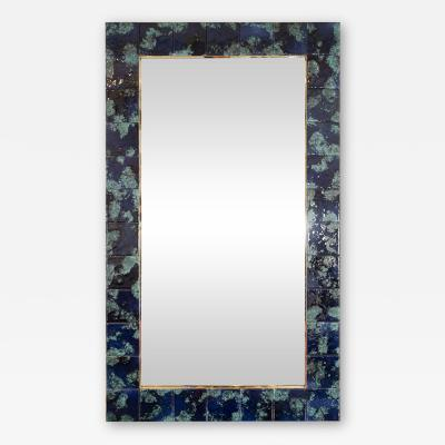 MOTTLED BLUE CERAMIC TILE MIRROR