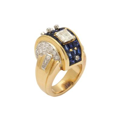 Machine Aesthetic Sapphire and Diamond Ring